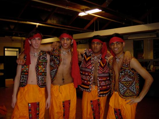 Dance - costume fun- frank, ravi, shiva, ananda (village-hero-wannabes)