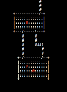 Here is a Roguelike diagram of our thought experiment... in case you haven't played many roguelikes (for shame!  You should try Brogue! https://sites.google.com/site/broguegame/]), you are the @, the F is your friend, the B is your buddy, and those octothorpes are single-person-wide hallways.