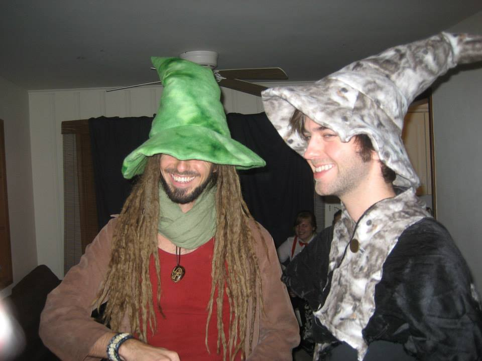 My brother & me. Luckily no one accused us of witchcraft; given our garb, I doubt we coulda beat the rap.