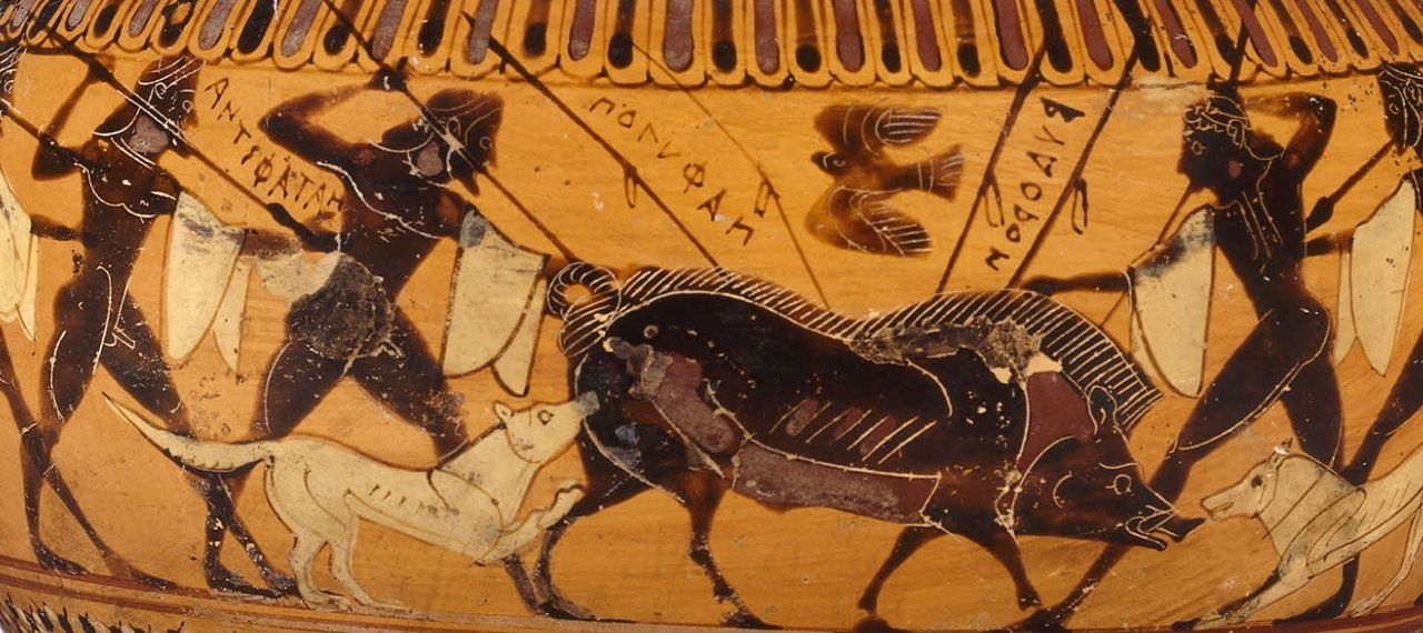 Pottery shard depicting a boar hunt in ancient Greece.